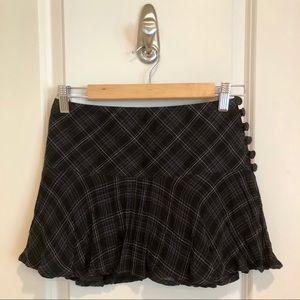 H&M flirty plaid miniskirt black/grey size 0/00